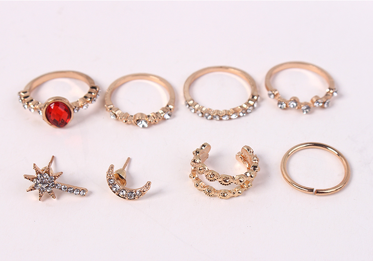 European and American vintage ring earrings set NHNPS4581
