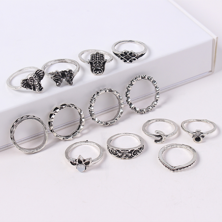 European and American fashion exaggerated ring combination set (gujin) NHNPS4578