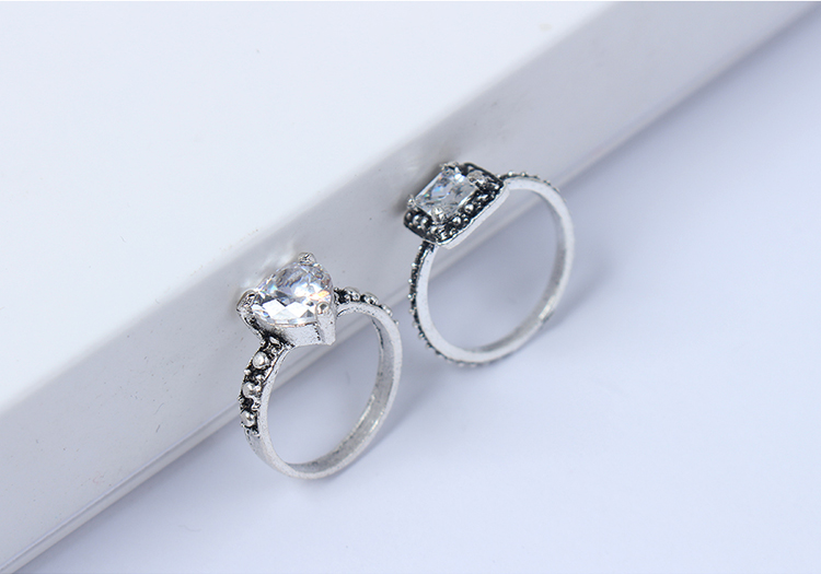 European and American simple and trendy rhinestone ring set (ancient alloy) NHNPS4563
