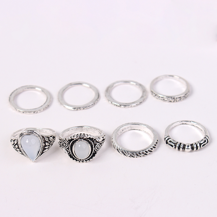 European and American creative water drop ring set ancient alloy NHNPS4547