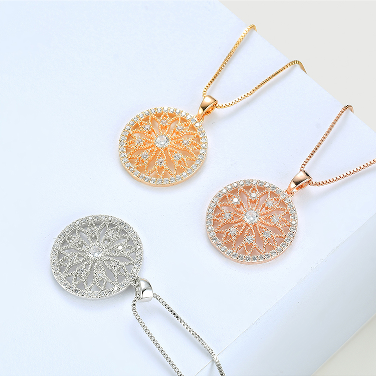 AAA micro-inlaid zircon set - hollow disc (champagne alloy) NHNPS4671
