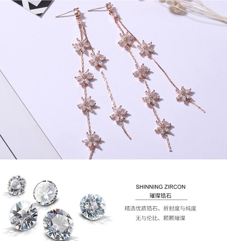 AAA grade zircon S925 alloy needle - flower sky (champagne alloy) NHNPS4661