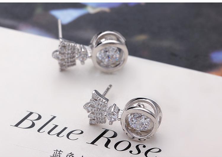 S925 sterling alloy smart earrings - smart crown NHNPS4643