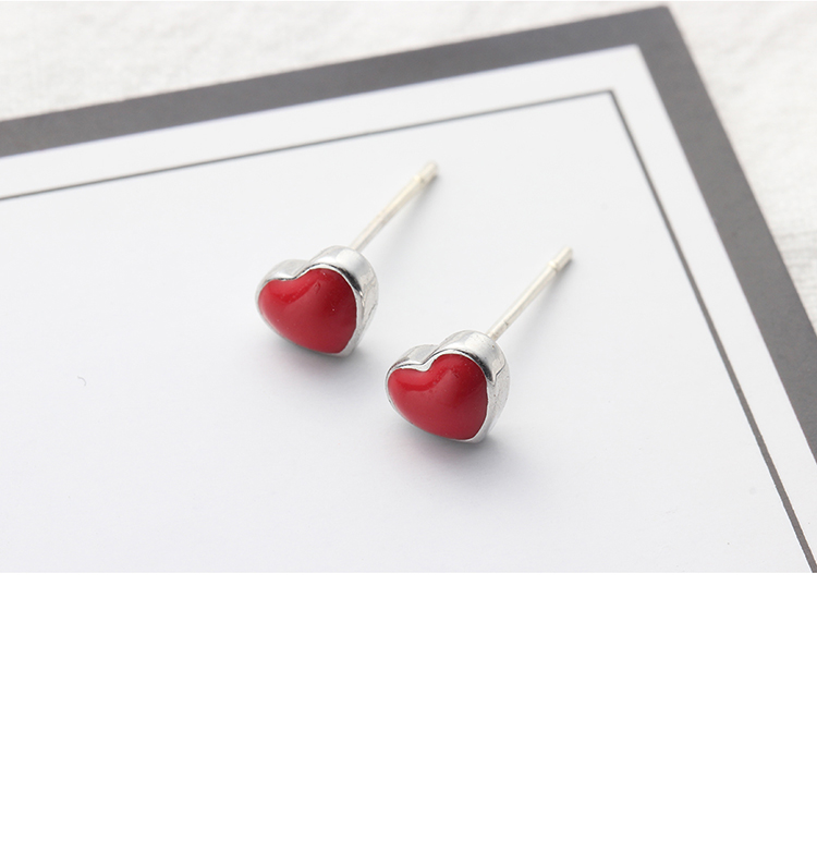 Cute sweet little red heart S925 alloy needle NHNPS4631