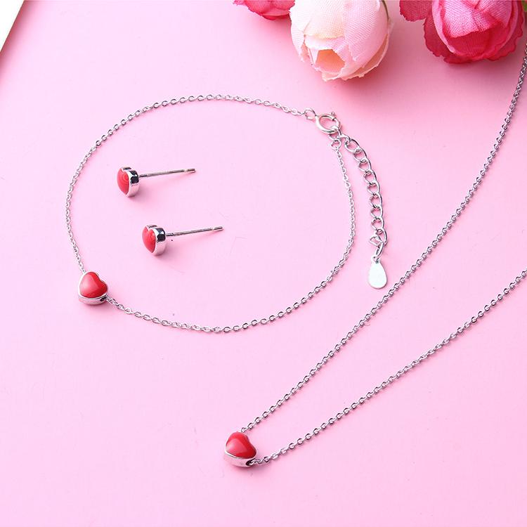 Cute sweet little red heart S925 alloy needle alloy buckle set NHNPS4630