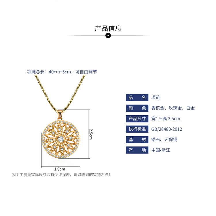 AAA micro-inlaid zircon necklace - hollow disc (champagne alloy) NHNPS4625
