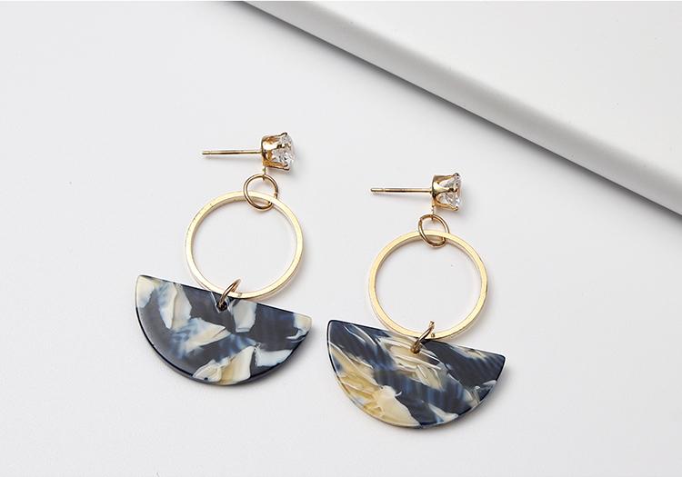 Korean version of the minimalist personality circle semi-circular earrings (blue) NHNPS4721