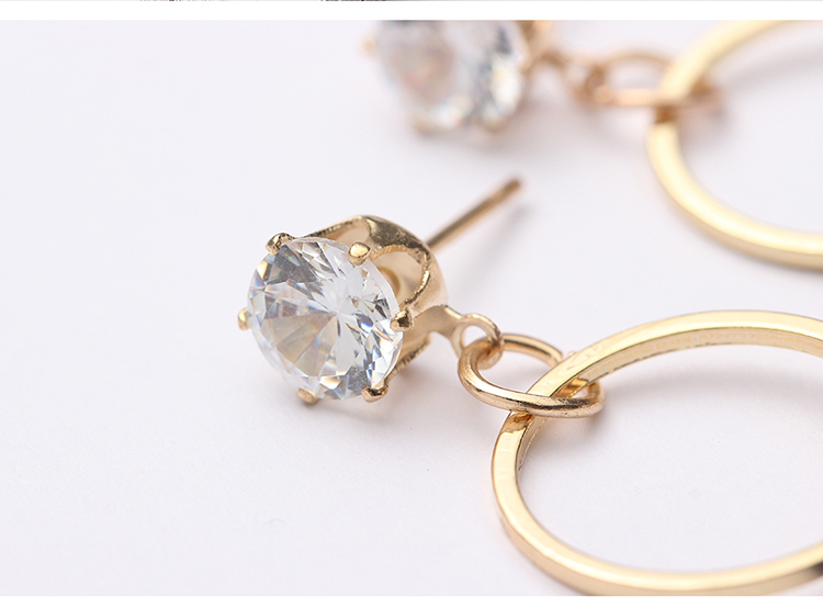 Korean version of the simple style circle earrings (blue) NHNPS4717
