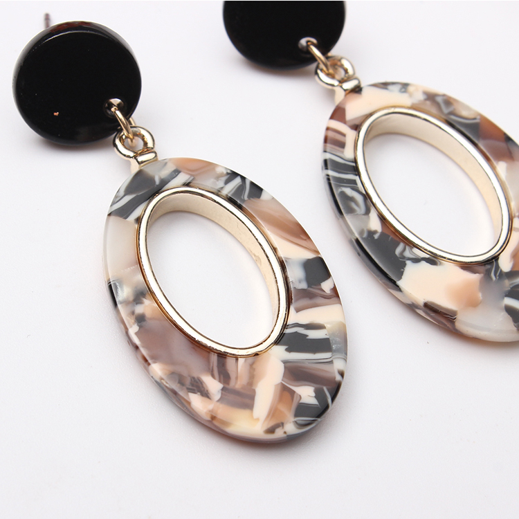 European and American fashion simple water drop personality earrings (ink green) NHNPS4713