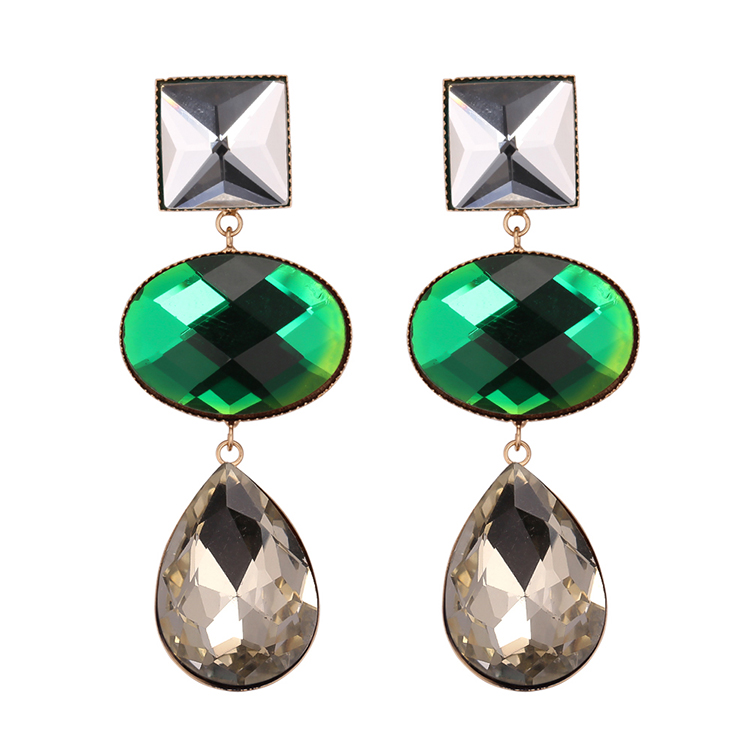 European and American fashion personality exaggerated water drop earrings (coffee) NHNPS4692