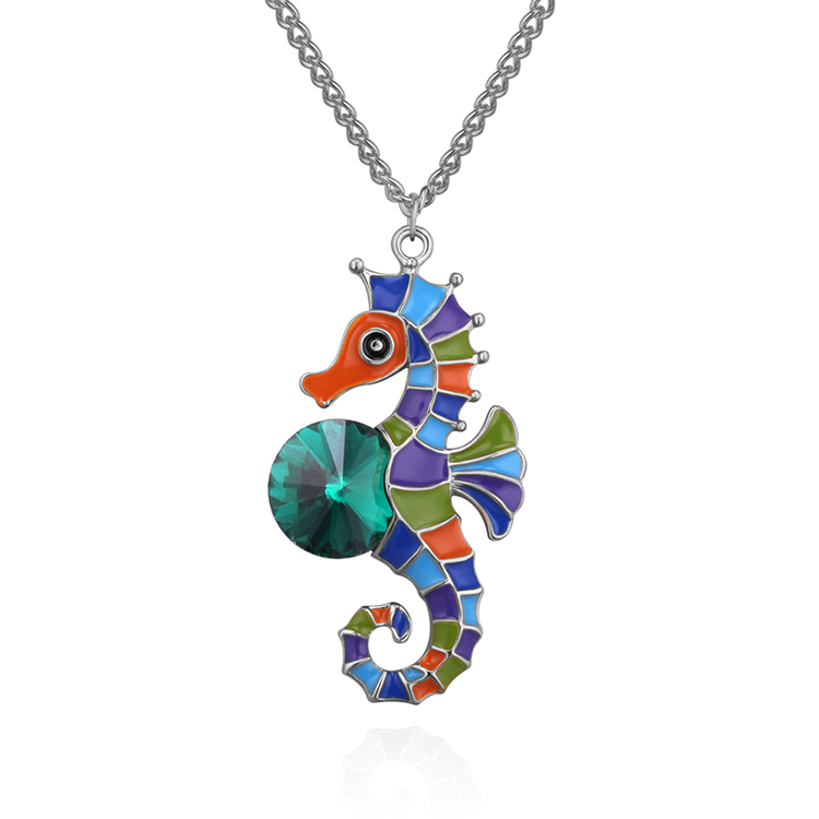Korean version of the creative cute hippocampus necklace (Platinum + Green) NHNPS4686