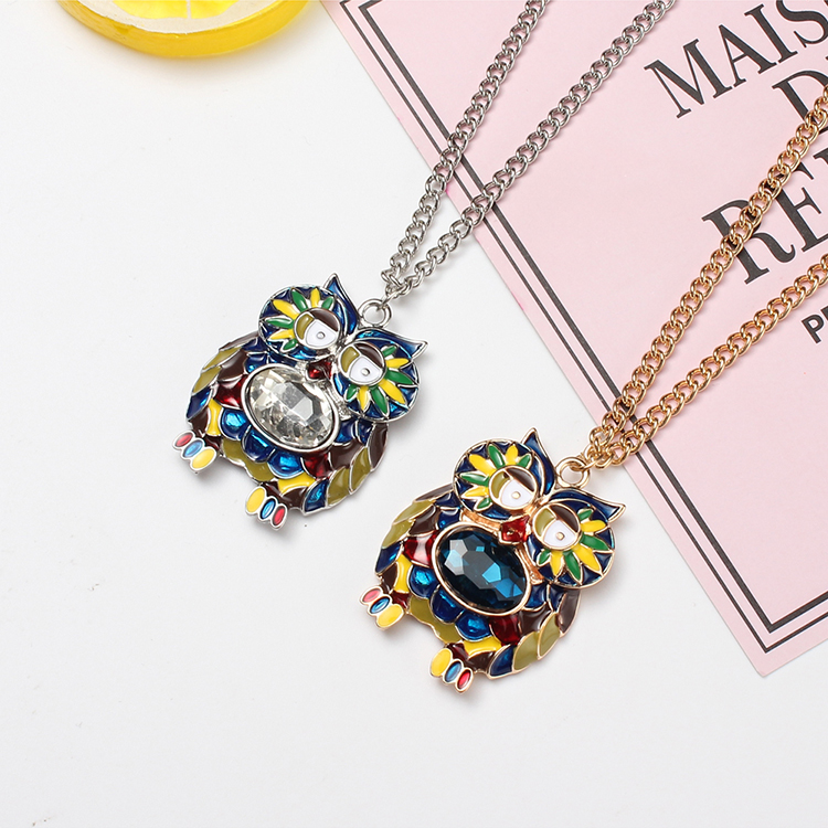 Korean fashion cute owl pendant necklace (Platinum + Blue) NHNPS4680