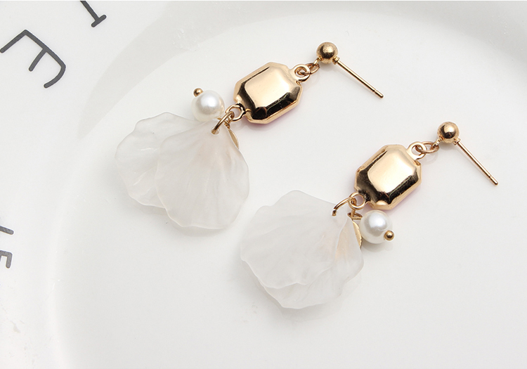Korean Creative Square Petal Earrings (Green) NHNPS4776