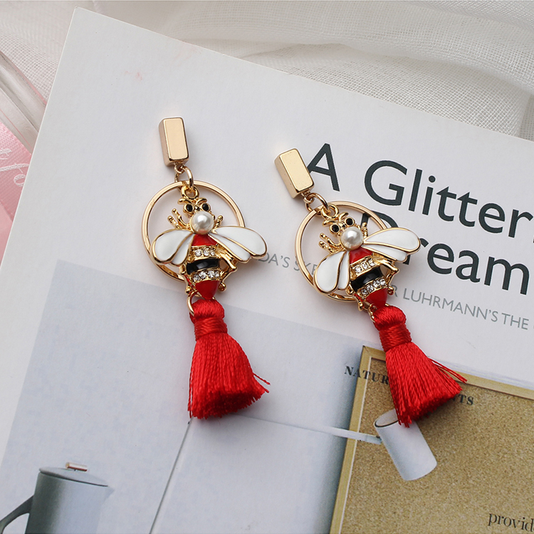 Korean version of the wild bee silk tassel earrings NHNPS4768