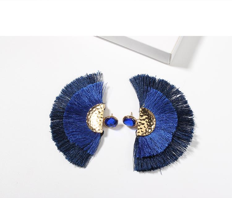 European and American creative exaggerated rhinestone silk earrings (white) NHNPS4744