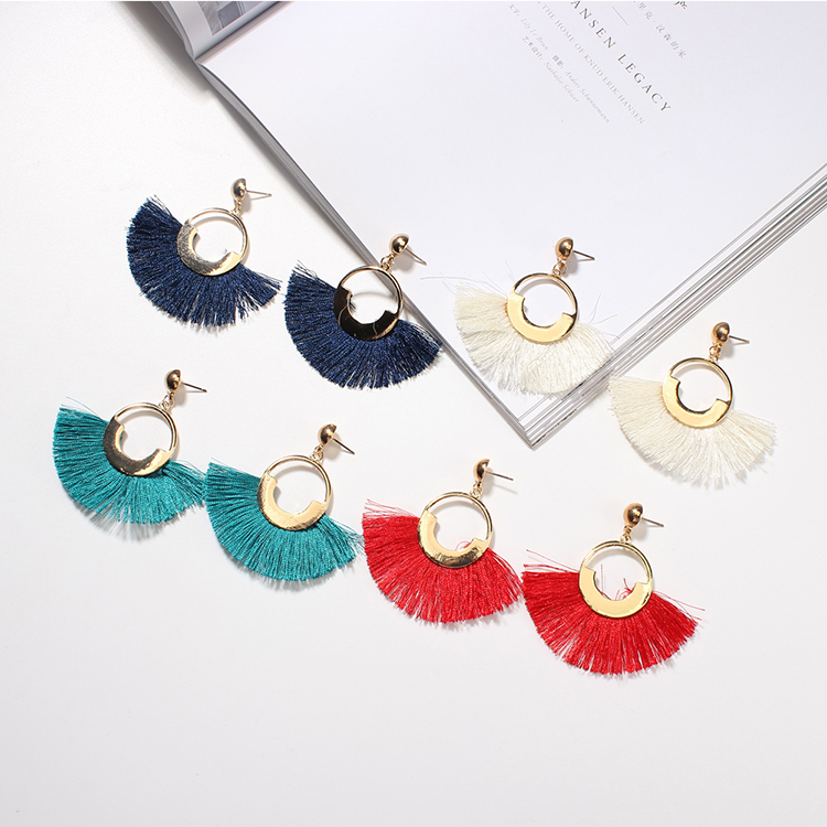 European and American fashion temperament silk earrings (white) NHNPS4736