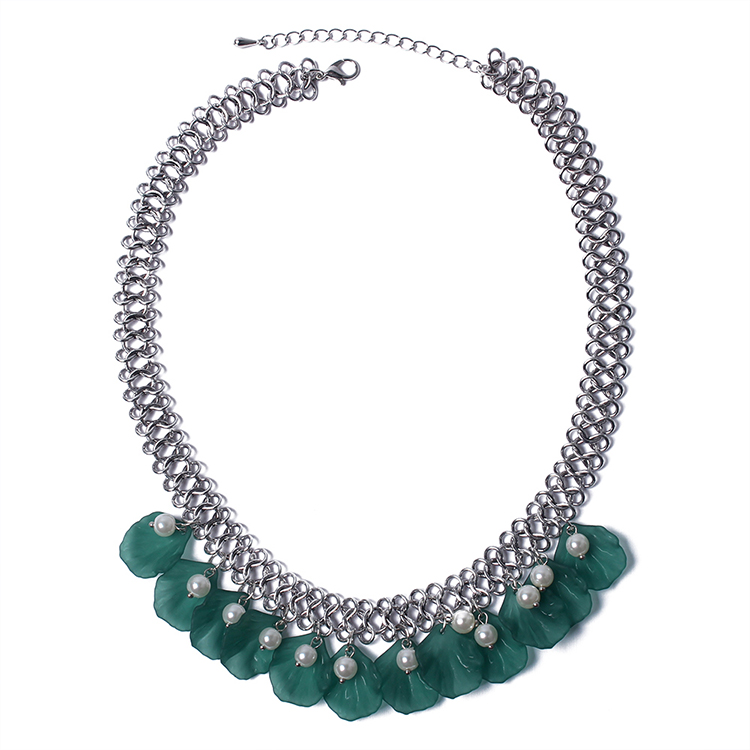 Bohemian shell beads necklace (green) NHNPS4882