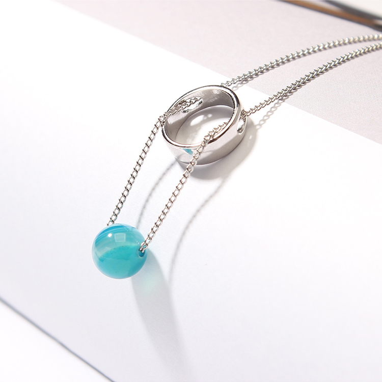 Korean version of the creative universe starry sky necklace (white K + blue sandstone) NHNPS4867