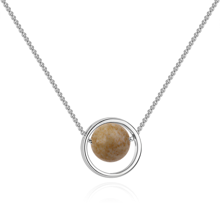Korean version of the creative universe starry Pluto necklace (white K + natural stone) NHNPS4865