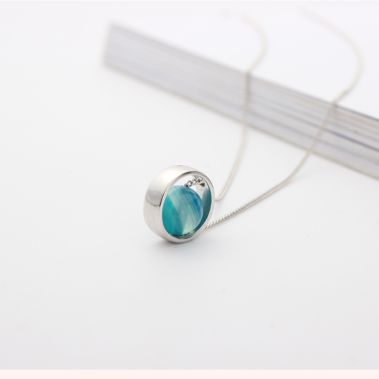 Korean version of the creative universe star alloy star necklace (white K + tiger eye stone) NHNPS4863