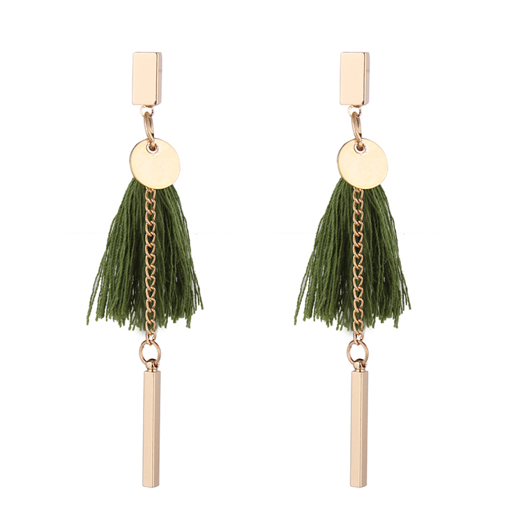 European and American fashion celebrity style tassel earrings (green) NHNPS4856