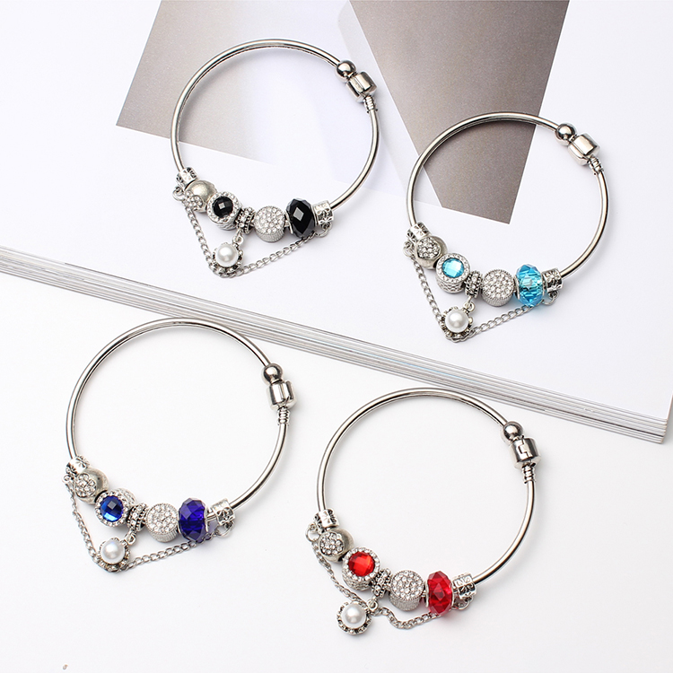 European and American fashion personality beads pendant bracelet (blue) NHNPS4850