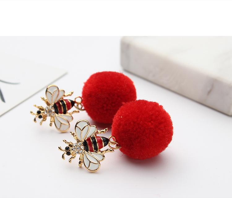 Korean fashion creative hair ball bee earrings (red) NHNPS4840