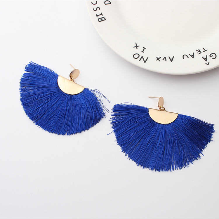 Europe and the United States exaggerated atmospheric semi-circular silk earrings (purple red) NHNPS4825