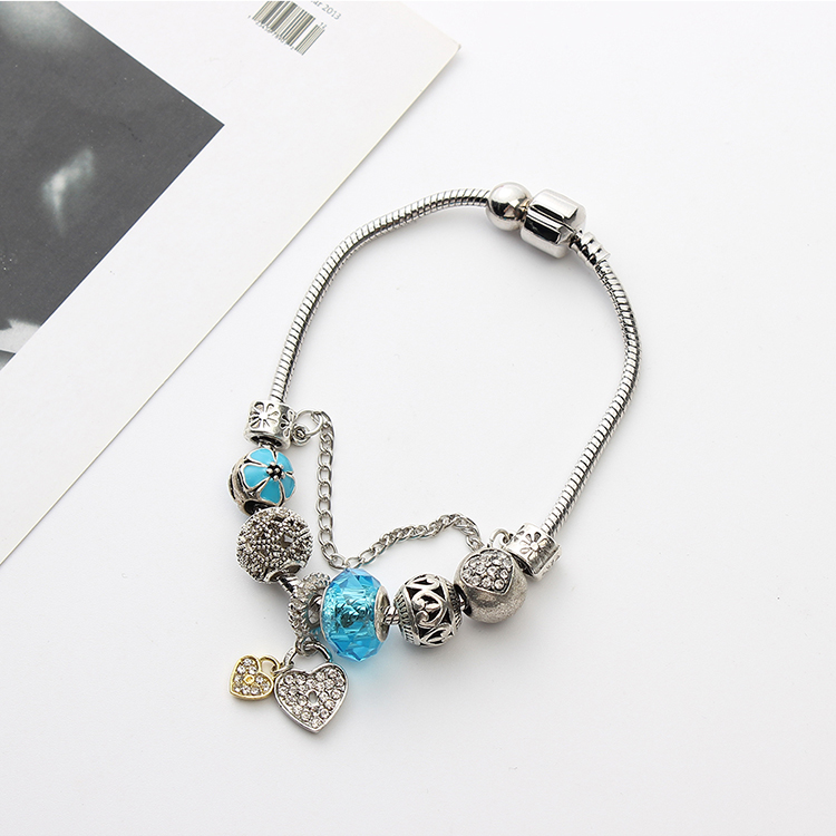 Korean version of the retro sun flower double heart bracelet (light rose red) NHNPS4795