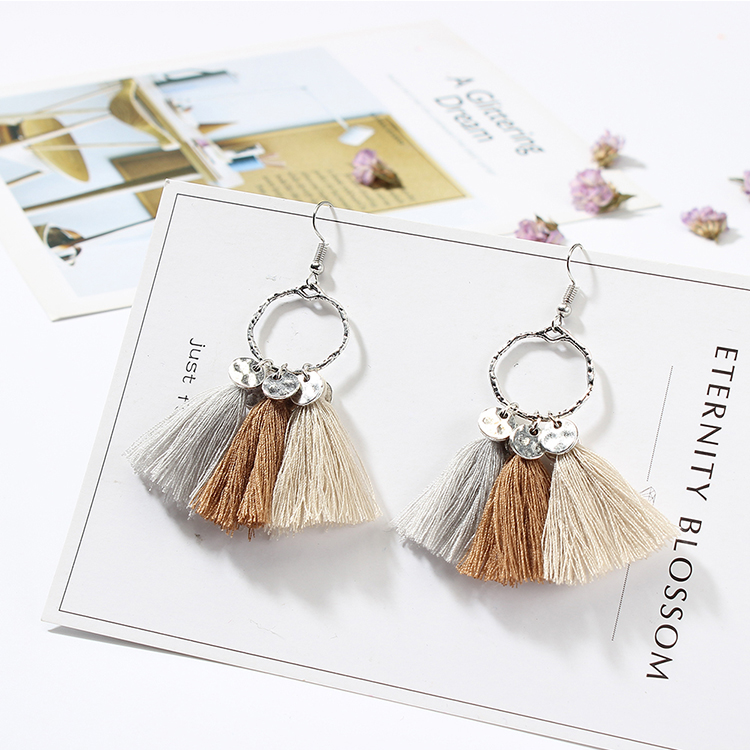 European and American ethnic ring tassel earrings (white + brown + gray) NHNPS4889
