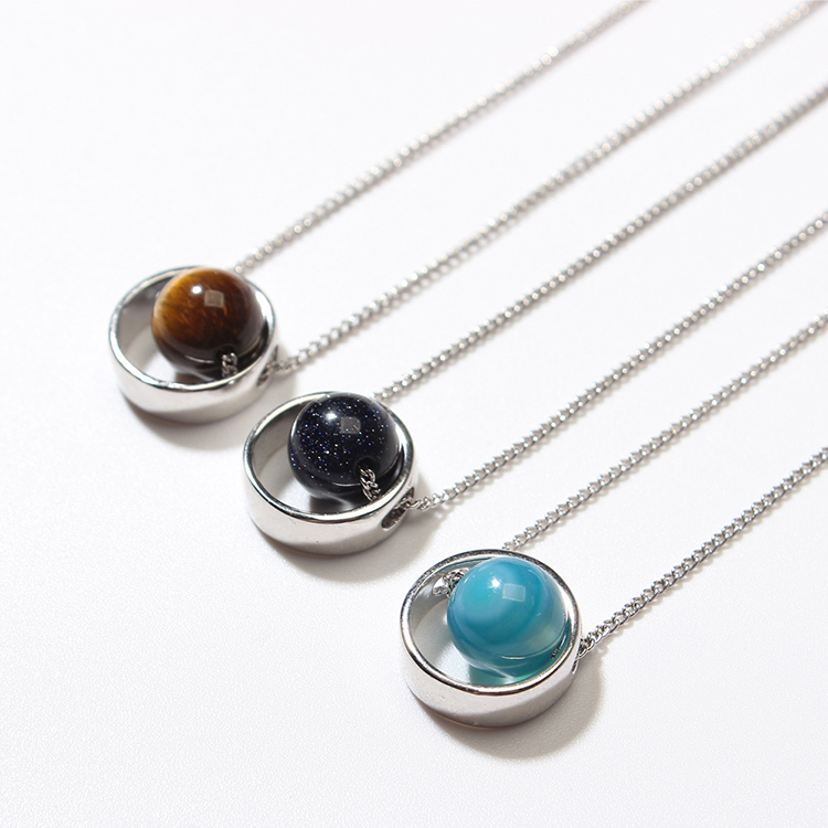 Korean version of the creative universe star Mercury necklace (white K + natural turquoise) NHNPS4888
