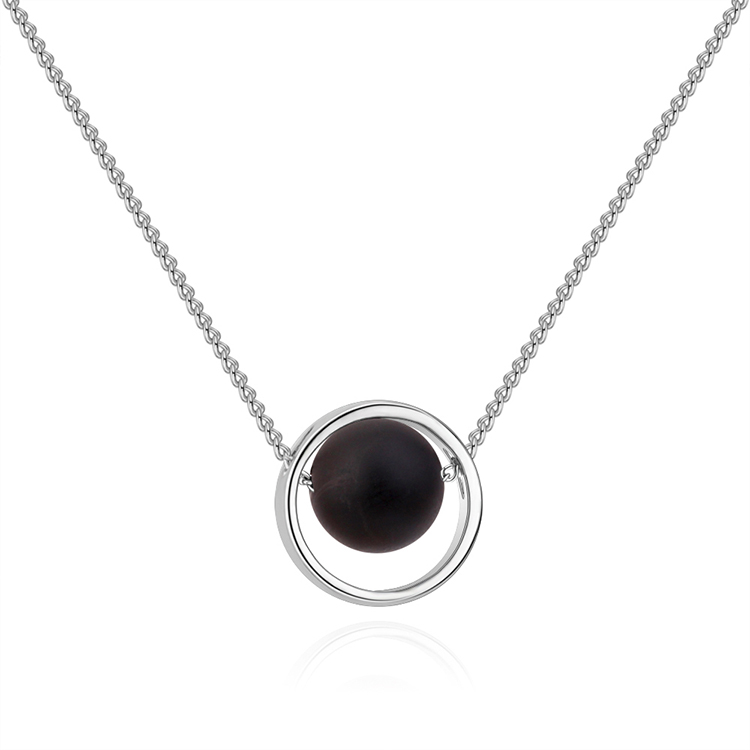 Korean version of the creative universe starry black hole necklace (white K + black agate) NHNPS4886