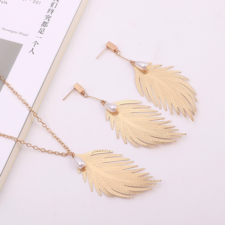 European and American retro creative feather set (imitation champagne alloy) NHNPS4933