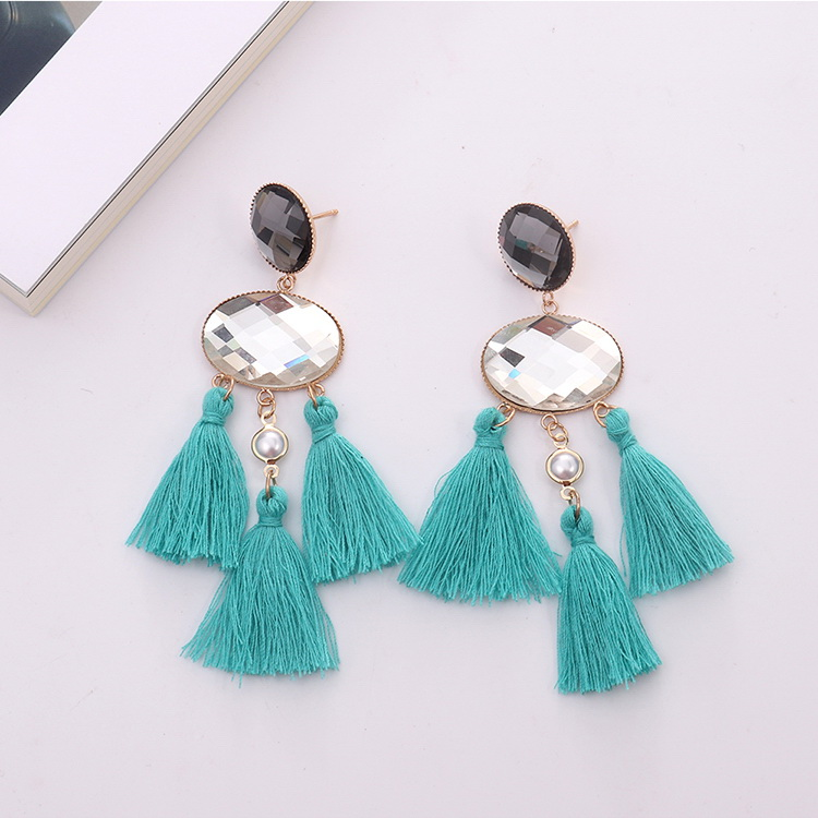 European and American exaggerated fringed temperament earrings (coffee) NHNPS4905