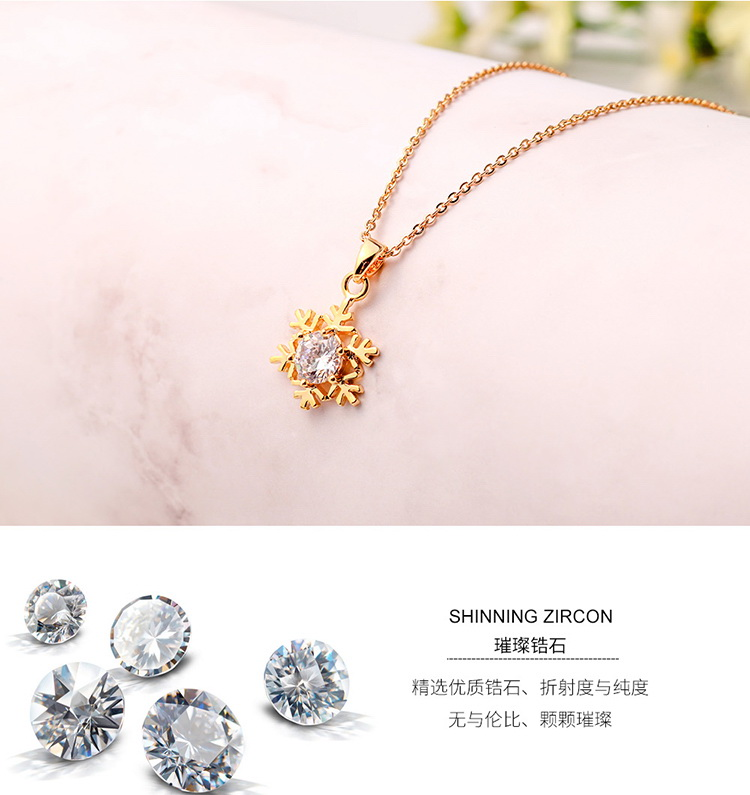 AAA Zircon Necklace - Snowflake (Champagne Alloy) NHNPS5098
