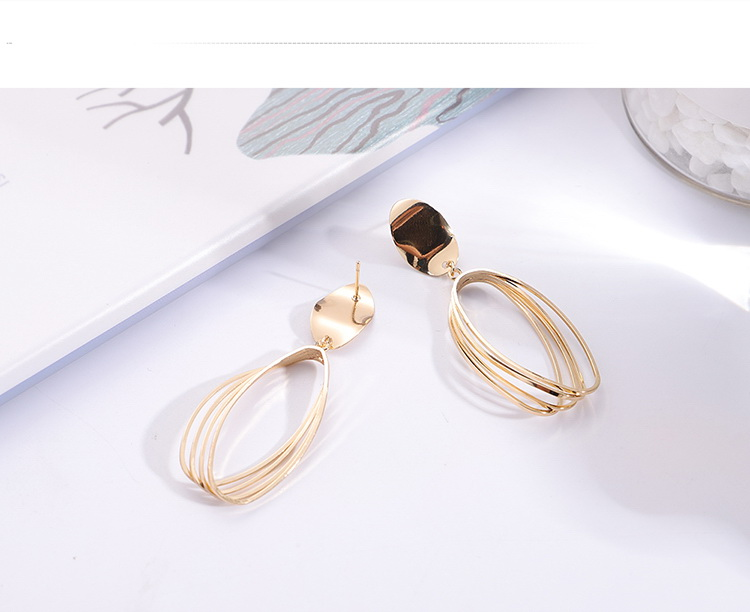 Korean temperament long geometric oval drop earrings (imitation champagne alloy) NHNPS5308