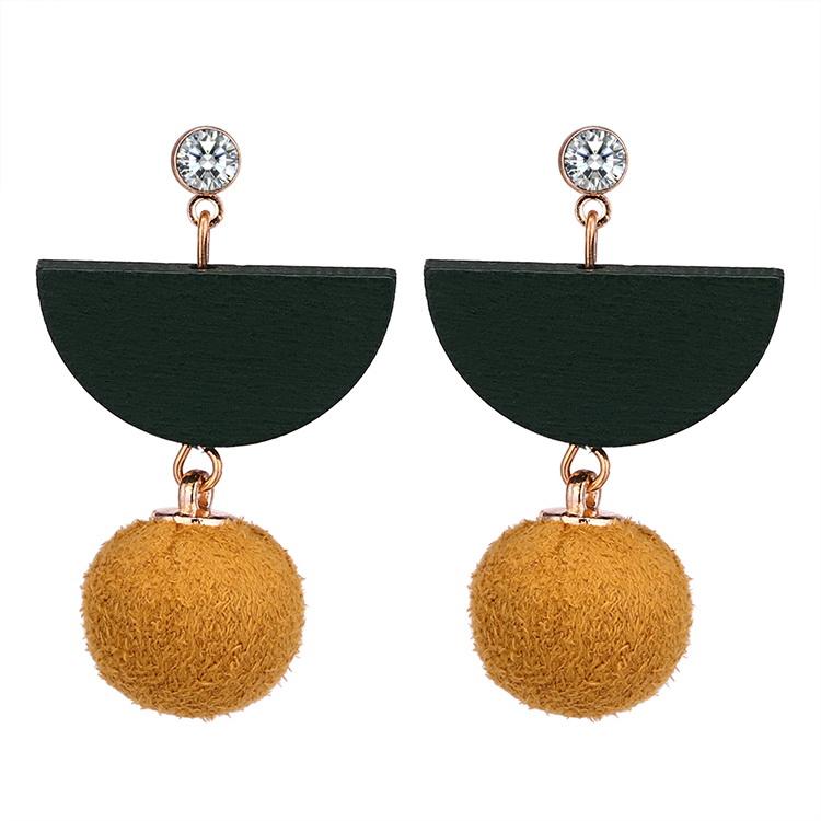 Korean version of the simple retro semi-circular wood wool ball earrings (yellow) NHNPS5338