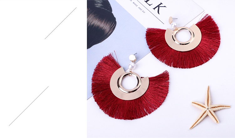 Bohemian national style exaggerated thin face silk earrings (blue) NHNPS5371