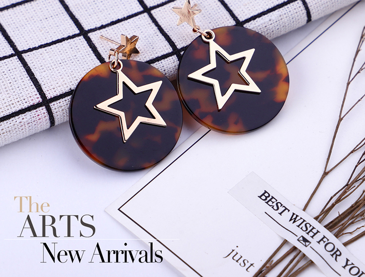 Korean version of the new leopard pattern Harajuku style triangle round earrings (yellow) NHNPS5367