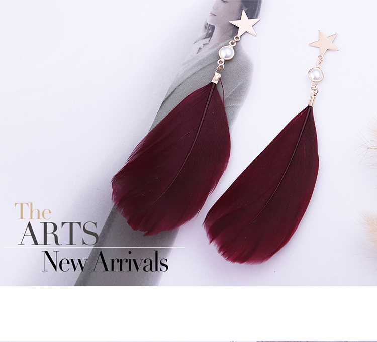 Korean temperament creative super fairy feather earrings (white) NHNPS5363