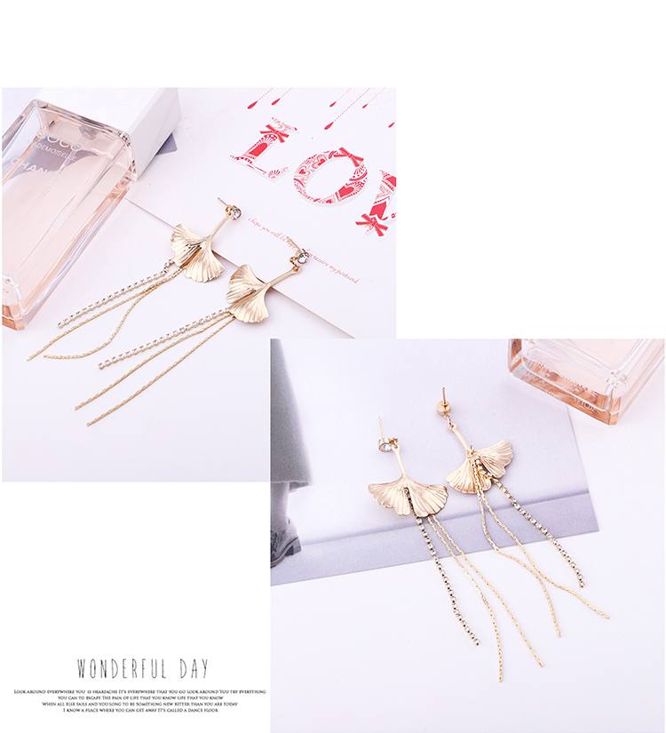 Korean version of temperament wild long ginkgo tassel earrings NHNPS5362