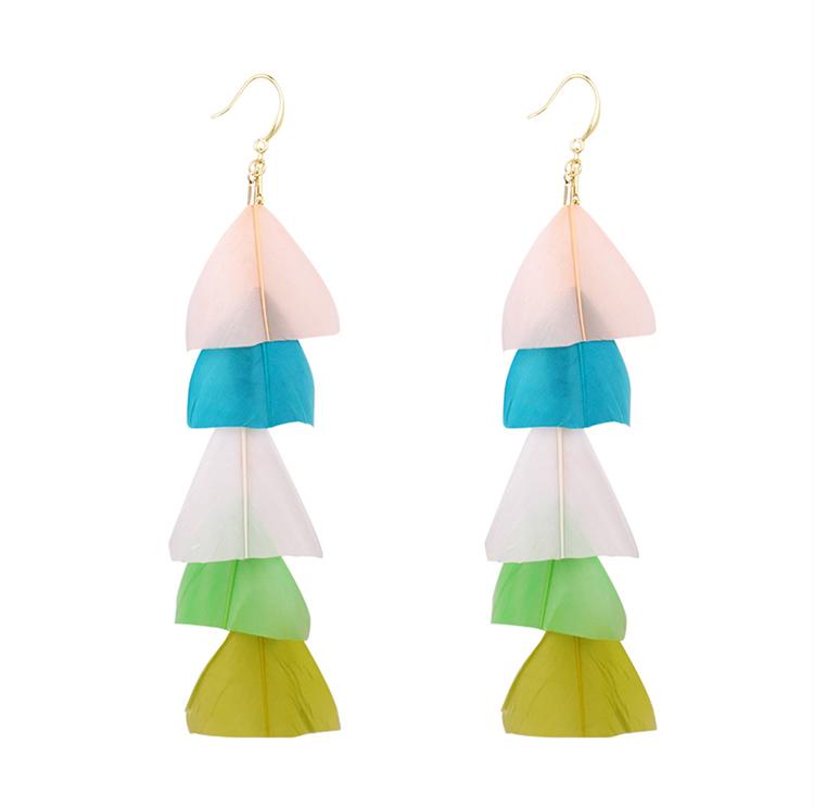 Bohemian ethnic style super fairy feather tassel earrings (color A) NHNPS5354