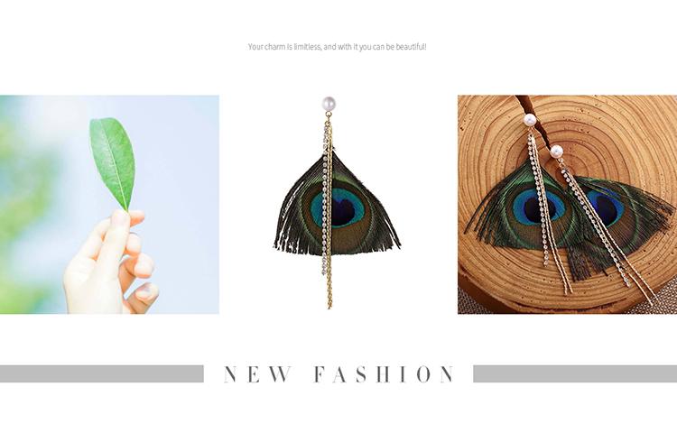 Korean version of the creative retro feather tassel earrings NHNPS5444