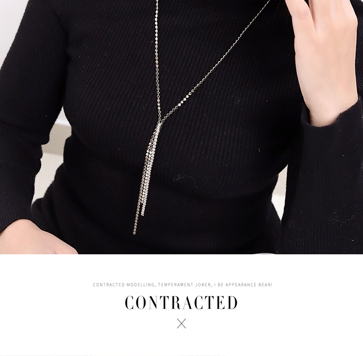 Plated alloy autumn and winter new versatile simple sweater chain (platinum) NHNPS5561