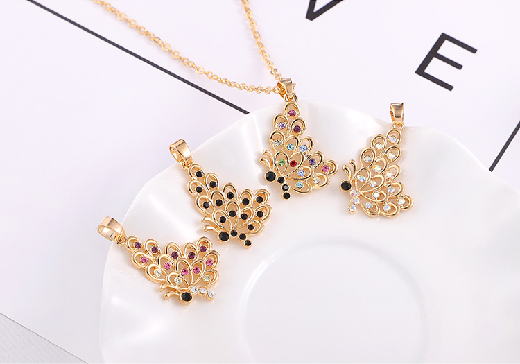 Alloy Necklace  Day Butterfly Champagne Alloy + Color B NHNPS569