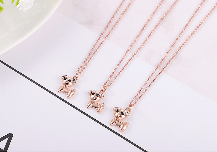 Plated alloy necklace - stay cute puppy (rose alloy + white) NHNPS5650