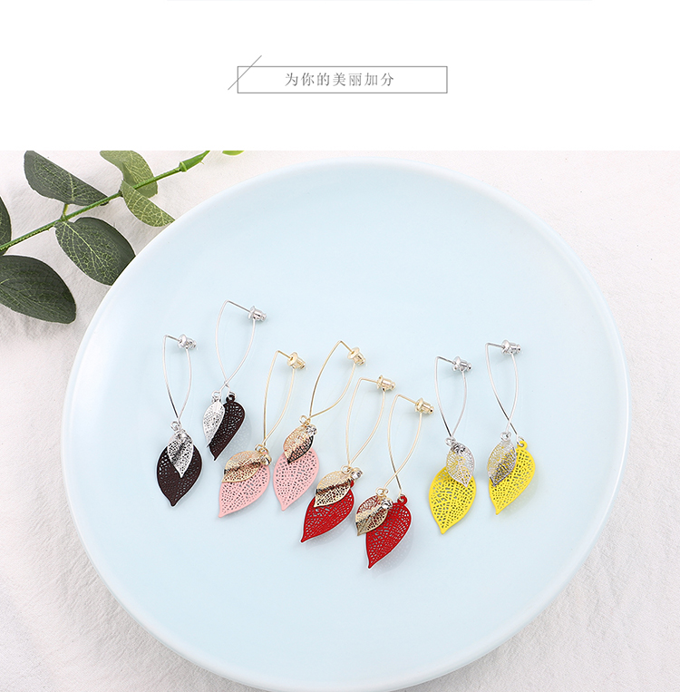 Genuine alloy creative wild new leaf earrings (champagne alloy + red) NHNPS5738