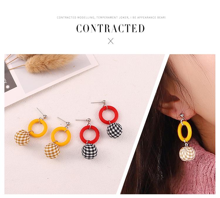 Japan and South Korea sweet small fresh wild ball drop earrings (red) NHNPS5806