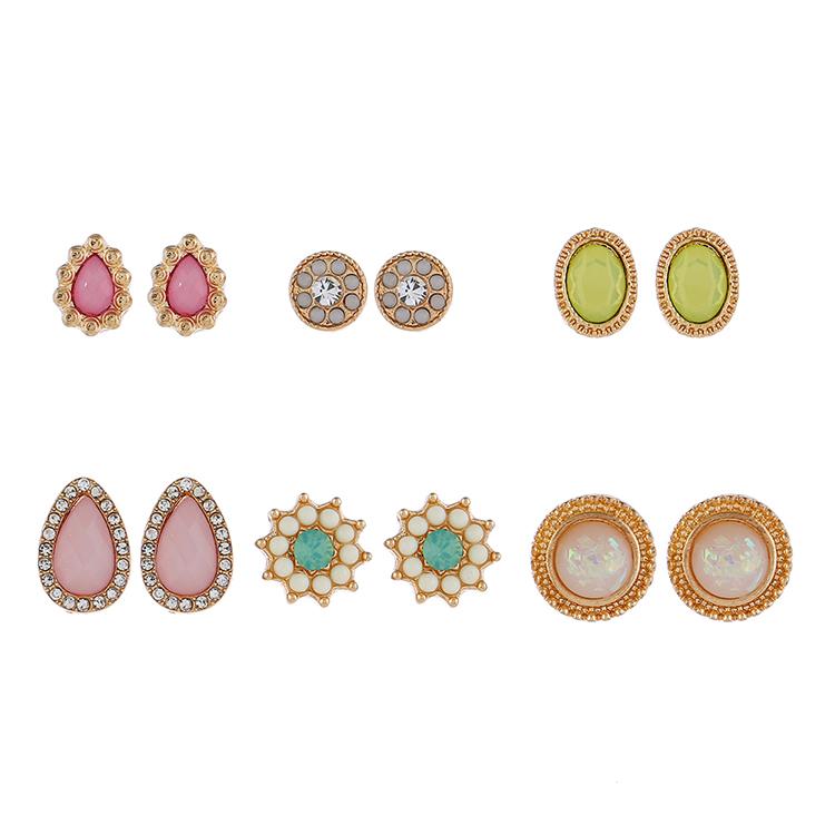 European and American popular new multi-element water drop rhinestone flower earrings NHNPS5858