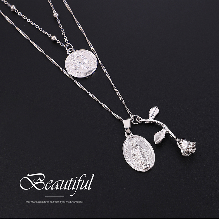 European and American retro goddess head rose pendant double necklace like platinum NHNPS5864
